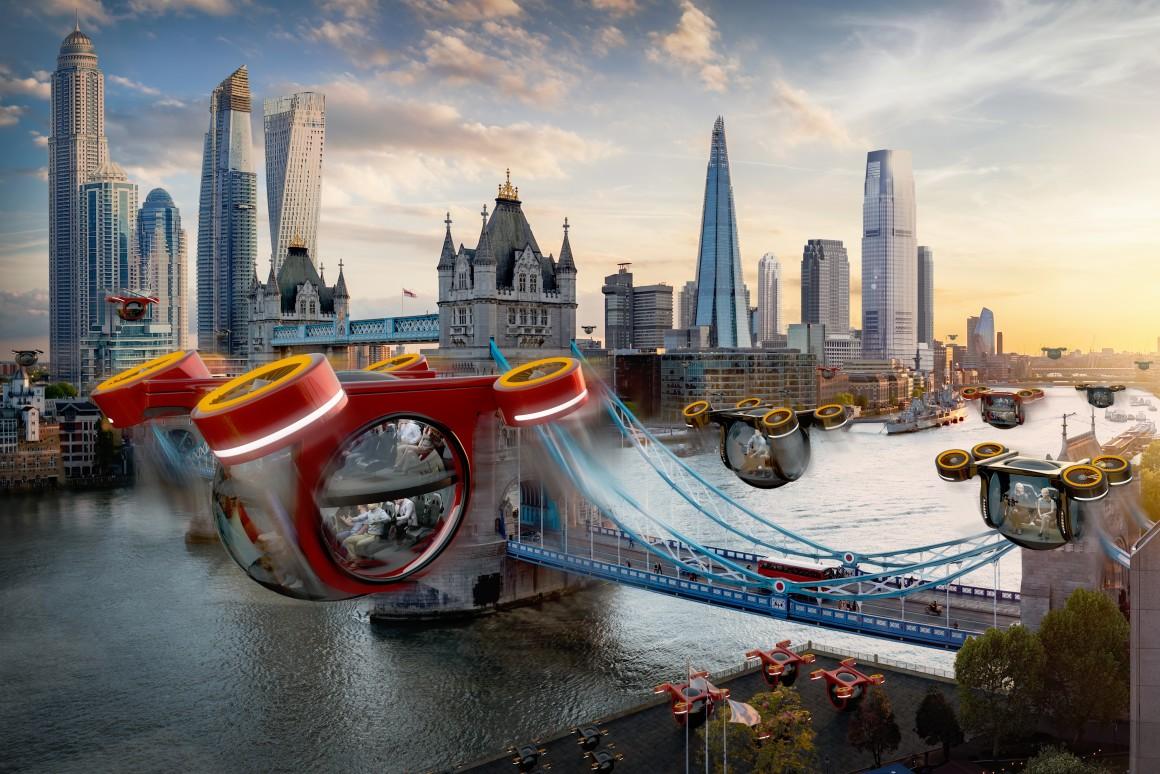 La ville de demain avec des taxis volants comme transports en commun