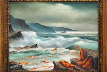 L'un des tableaux du triptyque de peintures de Banksy (Photo : Sotheby's ).