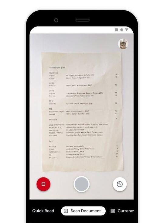 L'application Lookout en mode lecture de document.